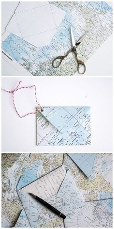 Map Crafts, Diy And Crafts, Upcycled Crafts, Envelope Diy, Origami, Pen Pal Letters, Handwritten Letters, Mail Art, Diy Paper