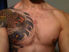 Koi Tattoo # 114 - Men love this kind of koi tattoos on upper arm and shoulder, which is extended to chest. Pin & like if you love them too:)