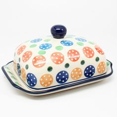 """3 1/3""""H x 5""""W x 6 3/4""""L - Quality 1 Guaranteed from the renowned Ceramika Artystyczna Boleslawiec - Polish Pottery is Oven, Microwave, and Dishwasher Safe! - Hand Painted and Stamped by Highly Skilled"""