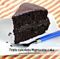 The secret ingredient that makes this cake so moist is Mayonnaise! Add 3 kinds of chocolate and it's chocolate indulgence at its highest. #chocolate #mayonnaise #cake