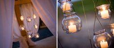 Velas suspensas na decoração de noivado