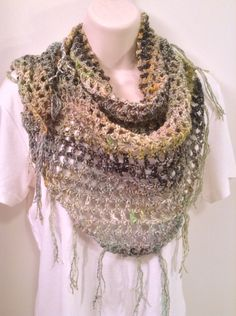 Crochet Shawl - Gray, Green and Black by SueAnnesKnitShoppe on Etsy