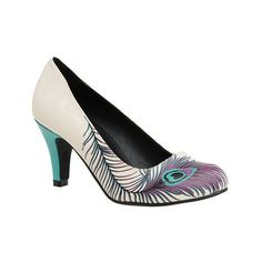 Women's T.U.K. Original Footwear Peacock Feather Heel ($55) ❤ liked on Polyvore featuring shoes, pumps, casual, white, print pumps, print shoes, peacock feather shoes, peacock print shoes and peacock pumps