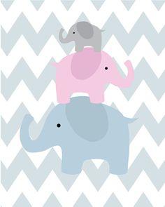 Baby Boy Nursery Art - Personalized Name Plate Art - Baby's initials - Baby Nursery Decor, Kids Art and Childrens Room - Elephant Family! Kids Room Art, Art Wall Kids, Art For Kids, Baby Nursery Decor, Nursery Art, Pink Flamingo Wallpaper, Baby Gift Box, Elephant Family, Baby Album