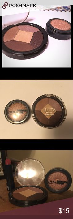 Ulta Sweet Little Nothings Set A sweet set for a sweet girl! Featuring the Ulta Complete Eye Palette in Indie (the powder liner section has a small piece broken off but still fine. The shadows have been swatched) and the Ulta Shimmer Blush. The shimmer blush is beautifully pigmented and gives a fresh blush. I'm throwing in an Ulta lipstick in Mauve Me since it's a little damaged but still usable. Ulta Makeup Eyeshadow