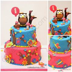 Owl Birthday Cake - I see this and think of Jalene and realize I really need to start working with Fondant lol Owl Cakes, Cupcake Cakes, Pretty Cakes, Cute Cakes, Owl Cake Birthday, 19 Birthday, Birthday Ideas, Owl 1st Birthdays, Fancy Cakes