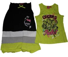 Monster High 3 Way Maxi Skirt Dress Shirt Set (XL (14/16)). Monster High 3 Way Maxi Skirt Dress Shirt Set. High Low Hem. Ghoulia Yelps, Clawdeen Wolf, Frankie Stein.