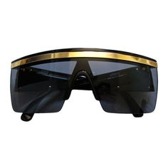 234488a21d62 GIANNI VERSACE black shield sunglasses with gold trim ❤ liked on Polyvore  featuring accessories