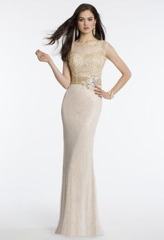 Camille La Vie Beaded Illusion Lace Prom Dress