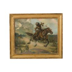 Pre-owned Large Original Oil Painting Hunter on Horseback ($1,800) ❤ liked on Polyvore featuring home, home decor, wall art, photo painting, photo wall art, hunting scene paintings and hunt painting