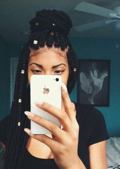 braid, box braids, and hair image