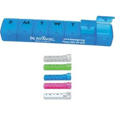 """Weekly pill dispenser. A traveler's necessity and a life-saver at home. Be organized for the week one day at a time. Dimensions: 6"""" x 1""""."""