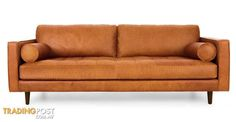 Sven Tan Leather Sofa for sale in Sydney NSW | Sven Tan Leather Sofa