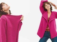 Fluide et élégante, cette veste est tricotée en un seul morceau, les manches y sont assemblées ensuite. Les extrémités sont terminées au point mousse....