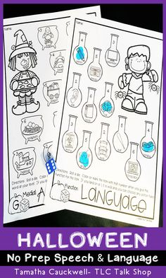 Students love using daubers, crayons, and erasers while targeting their goals with these engaging no prep resources. This fun Halloween pack targets articulation and language skills using dice and spinner games. Perfect for mixed groups and speech and language stations. #languagetherapy #mixedgroupspeechtherapy