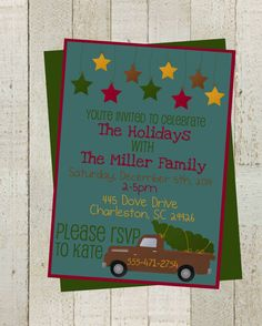 Vintage Christmas Truck Holiday Party Invite by themilkandcreamco $10.00 Vintage Christmas Truck Holiday Party Invite, Christmas Party, Holiday Printable Holiday Invite, Digital File, Invite