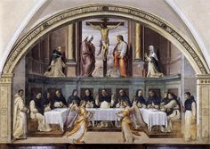 SOGLIANI, Giovanni Antonio, St Dominic and his Friars Fed by Angels, 1536, Fresco, Convent of San Marco, Florence