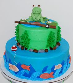 Froggy Fishing Baby Shower Cake ~ NutMeg Confections