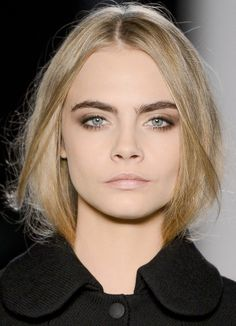 Cara Delevingne's runway make-up for Mulberry Autumn/Winter 2013 at London Fashion Week.