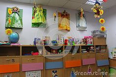 Photo about Kindergarten class with decorations and didactic materials. Image of class, materials, books - 60166047 Kindergarten Class, Editorial Photography, Vectors, Sign, Stock Photos, Children, Free, Image, Young Children