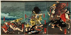 A blue-skinned Kaido-maru trying to attack Minamoto no Yorimitsu on a country road at night.