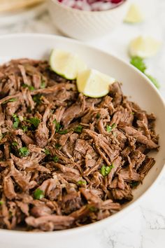 This slow cooker barbacoa is an easy and delicious protein to add to burrito bowls, or make into tacos! The barbacoa is paleo, whole30 compliant, and can be adapted to be AIP.