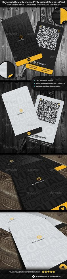 Keywords Quick Response Professional Business Card - GraphicRiver Item for Sale