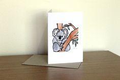 Koala blank greeting card by Yoliprints on Etsy