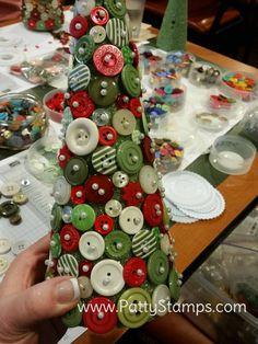 Button Christmas Trees featuring retired Stampin Up! buttons and styrofoam cones by Patty Bennett, Joy and Roxy Christmas Button Crafts, Christmas Craft Fair, Christmas Buttons, Handmade Christmas Decorations, Christmas Projects, Holiday Crafts, Vintage Christmas, Christmas Holidays, Winter Decorations