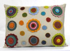 Polka Dot Pillow: Penny Rug Fiber Art, Nestle and Soar /// TAFA Market Floral Collection: http://www.tafaforum.com/market/nature/flowers/