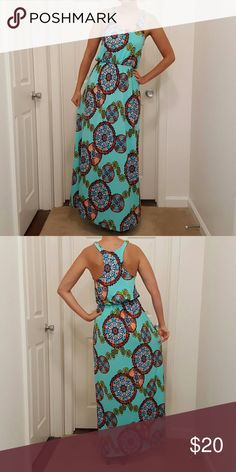 Aqua Maxi Dress Gorgeous maxi dress! Never worn except to try on. **Also listed on Ⓜerc with free shipping** Dresses Maxi