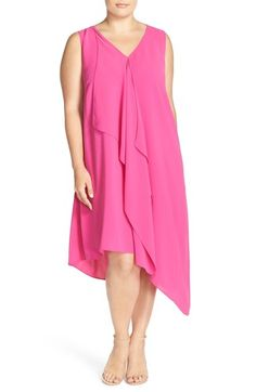 Adrianna Papell Sleeveless Asymmetrical Front Drape Crepe Shift Dress (Plus Size) available at #Nordstrom