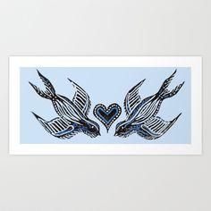 Swallow love Art Print by Isobel Woodcock Illustration