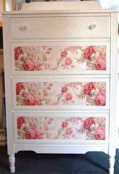 Shabby-chic style :Cottage Chic Dresser with Roses by Daniscustomdesigns- she does very cool cottage style furniture w/ floral paper and embossed papers - I definitely could do this! (Decopage them? Shabby Chic Bedrooms, Shabby Chic Homes, Shabby Chic Furniture, Painted Furniture, Sunroom Furniture, Vintage Furniture, Repurposed Furniture, Rustic Furniture, Decopage Furniture