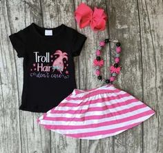 Troll Hair Don't Care Outfit Girls Set