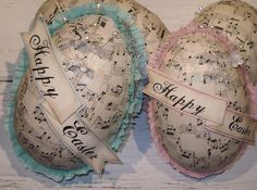 Easter Eggs Candy Containers by Small Treasures, via Flickr~decoupaged with sheet music and crepe paper