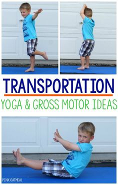 Transportation Yoga. Make kids yoga fun by incorporating a theme! Transportation is a perfect theme to incorporate into kids yoga poses!