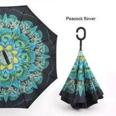 Car Reverse Folding Umbrella Inverted Umbrella with Funny Duck Off Quote Print