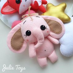 Pink elephant, pattern toys from felt in PDF format for self-sewing - Modern Felt Doll Patterns, Felt Crafts Patterns, Stuffed Toys Patterns, Fabric Crafts, Needle Felting Supplies, Needle Felting Tutorials, Needle Felted Animals, Felt Animals, How To Make Toys