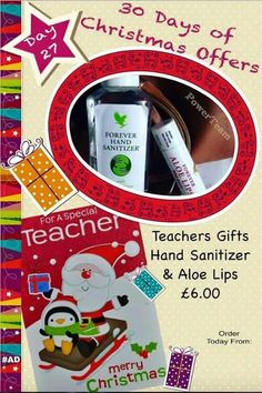 Thank you teacher gift set, all wrapped and ready! Thank You Teacher Gifts, Your Teacher, Aloe Lips, Forever Living Business, Christmas Offers, Forever Aloe, Christmas Fairy, Christmas 2015, Forever Living Products