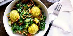 Curried Falafel with Kale Salad