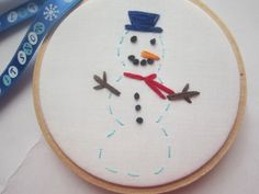 """Snowman Christmas Tree ornament/ Gift Tag 3"""" Embroidery Hoop"""