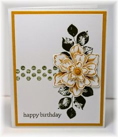 The card - stamped images are from SU. The flower is made with 3 different flowers/punch layered on top of each other. Colors are ho...
