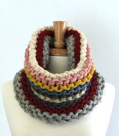 Chunky Knit Cowl Scarf in Silver / Red / Cream / Pink / Yellow / Blue / Brown / Green / Purple. $32.00, via Etsy.