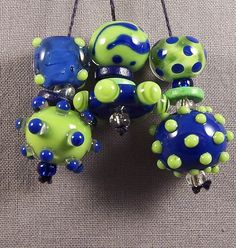 Handmade Lampwork Bead Set by Mona - Spring's Poppin'.