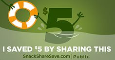 I just got a coupon from Publix by sharing this with you! Check out SnackShareSave.com