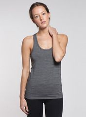 The Racerback Tank in charcoal in charcoal. Unbelievably soft to the touch, our tank is made from high-quality materials, like nylon, polyester and spandex, and its casual fit hugs your body in all the right places. Shop this and other styles at www.coryvines.com