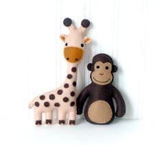 This listing is for patterns and instructions to make five mini safari themed stuffed animals using felt and hand embroidery: an elephant, a giraffe, a monkey, a zebra, and a lion. If youre looking to decorate a nursery or make a jungle mobile, consider these felt critters as a starting point. ~~~o~~~o~~~o~~~o~~~o~~~o~~~o~~~  • This is a DIGITAL DOWNLOAD, not a PHYSICAL PRODUCT. You will not receive anything in the mail / by post. • You are welcome to sell any finished products made from the…