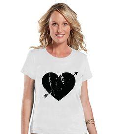 Ladies Valentine Shirt - Womens Heart Arrow Shirt - Valentines Gift for Her - Cupid Shirt - Rustic Happy Valentine's Day - White T-shirt