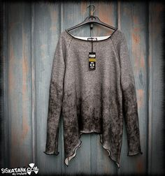 HAZY ooak Sweatshirt Grey Post Apocalyptic Tie dye by siskatank, €54.00